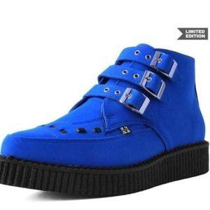 Blue Suede Creeper Boots Vegan 3 Buckle T.U.K.10